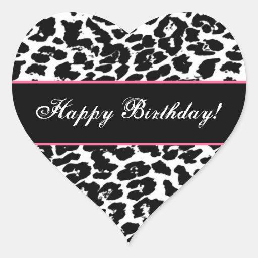 Decoration Murale Design Salon : Joyeux anniversaire G561 de léopard noir et blanc Sticker