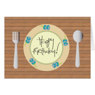 Joyeux anniversaire humoristique d'un plat cartes de vœux