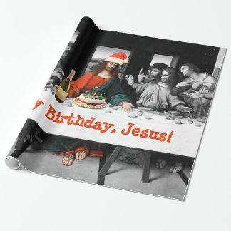 Joyeux anniversaire, Jésus ! Noël drôle Papier Cadeau