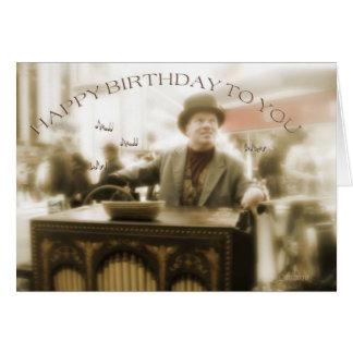 joyeux anniversaire joueur d'organe de rue carte de vœux