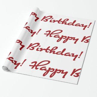Joyeux anniversaire ! Manuscrit décontracté rouge Papier Cadeau