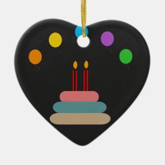 Joyeux anniversaire ornement cœur en céramique