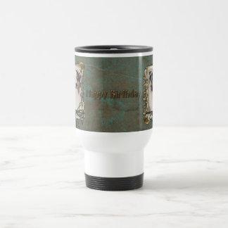 Joyeux anniversaire - pattes en pierre - berger mug de voyage