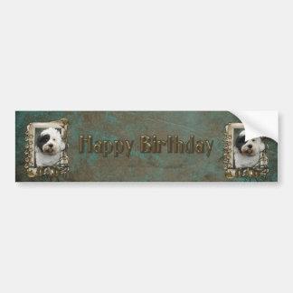 Joyeux anniversaire - pattes en pierre - Terrier t Autocollant Pour Voiture