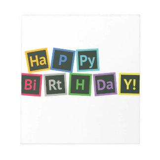 Joyeux anniversaire périodique blocs notes