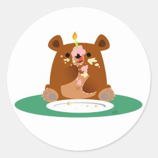 Joyeux anniversaire, peu d'ours ! ! adhésif rond