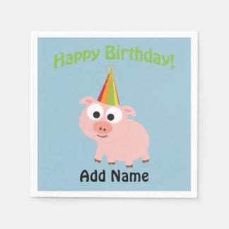 Joyeux anniversaire ! Porc mignon Serviettes Jetables