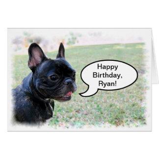 Joyeux anniversaire, Ryan, carte de bouledogue