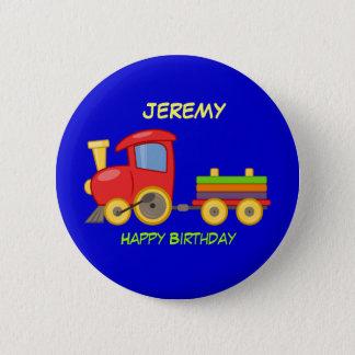 Joyeux anniversaire, train de jouet, modèle badge