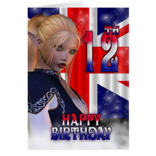 Joyeux anniversaire Union Jack, Elf Cartes De Vœux