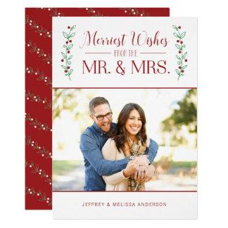 Joyeux carte photo de Noël de nouveaux mariés des