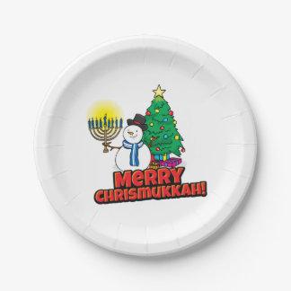Joyeux Chrismukkah avec le bonhomme de neige et le Assiettes En Papier