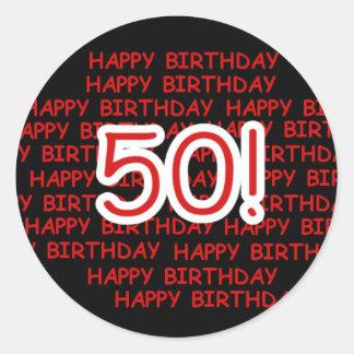 Joyeux cinquantième anniversaire sticker rond