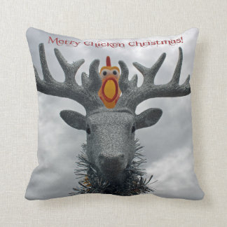 Joyeux coussin drôle de Noël de poulet !