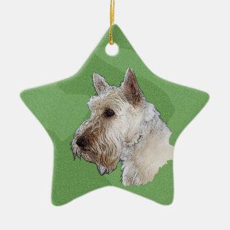 Joyeux écossais Terrier de Noël (blond comme les Ornement Étoile En Céramique