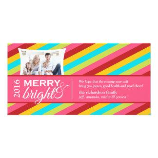 Joyeux et lumineux cartes photos de Noël de rayure Cartes De Vœux Avec Photo