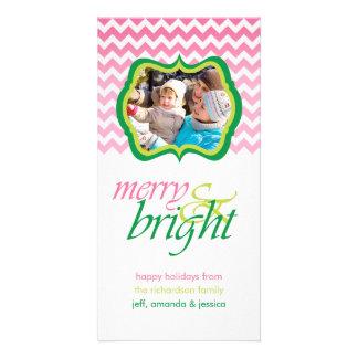 Joyeux et lumineux cartes photos verts roses de cartes de vœux avec photo