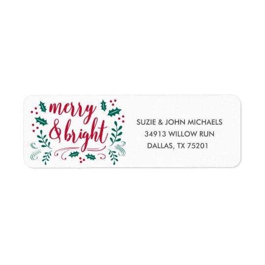 Joyeux et lumineux étiquette de adresse de retour