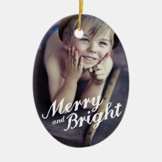 Ornement Ovale En Céramique Joyeux et lumineux ornement de photo de Noël