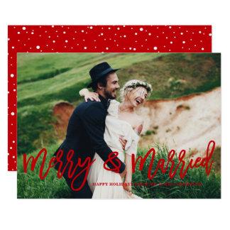 Joyeux et marié carte photo en lettres de vacances