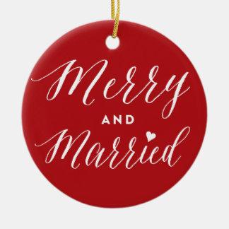 Joyeux et marié premier ornement de photo de Noël