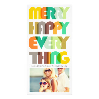 Joyeux heureux tout carte photo coloré de vacances