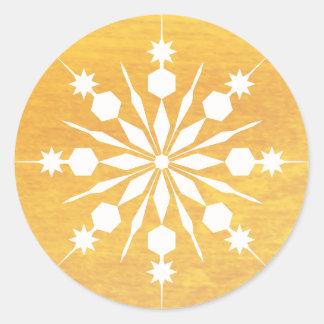 Joyeux hiver de Noël élégant de flocon de neige Sticker Rond