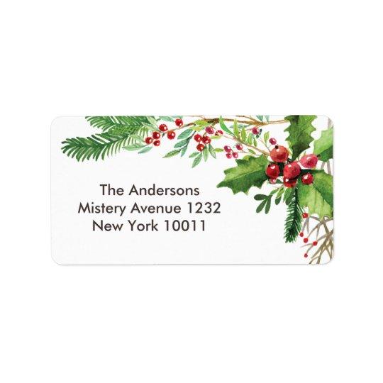 Joyeux modèle nostalgique de Noël de baie Étiquette D'adresse