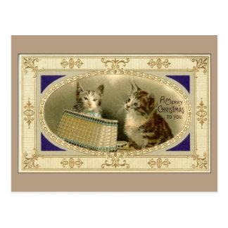 Joyeux Noël à vous carte postale vintage Brown de