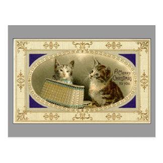 Joyeux Noël à vous gris vintage de carte postale