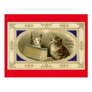 Joyeux Noël à vous rouge vintage de carte postale