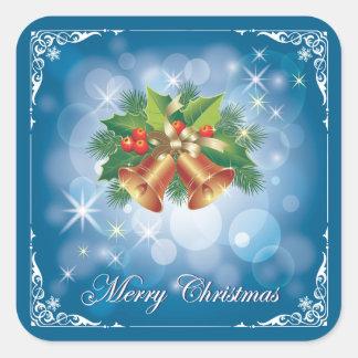 Joyeux Noël assez bleu et blanc Sticker Carré