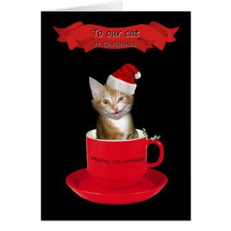 Joyeux Noël au chat Carte De Vœux