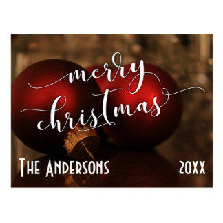 Joyeux Noël avec les boules en verre rouges, Carte Postale