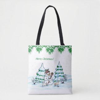 Joyeux Noël ! Bonhomme de neige avec le chat et le Tote Bag