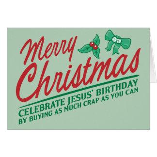 Joyeux Noël - célébrez l'anniversaire de Jésus Carte De Vœux