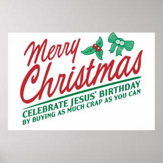 Joyeux Noël - célébrez l'anniversaire de Jésus Poster