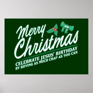 Joyeux Noël - célébrez l'anniversaire de Jésus Posters