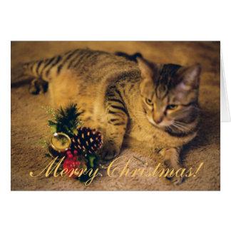 """Joyeux Noël !"" Chat tigré Carte De Vœux"