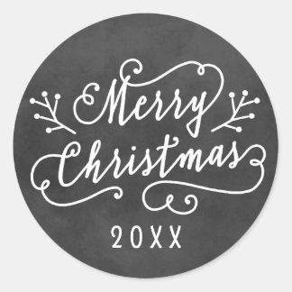 Joyeux Noël dans le tableau blanc du manuscrit   Sticker Rond