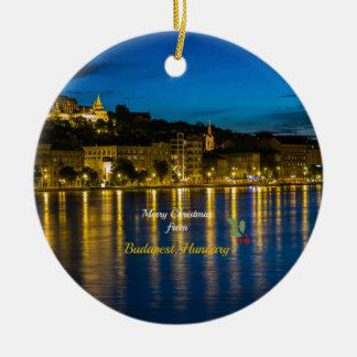 Joyeux Noël de Budapest, Hongrie Ornement Rond En Céramique