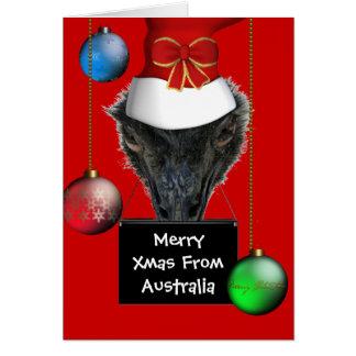 Joyeux Noël de carte de casquette d'émeu de