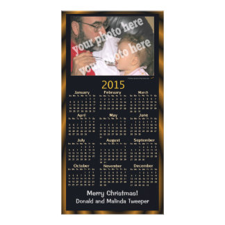Joyeux Noël de la photo 2015 de calendrier de noir Photocarte Personnalisée
