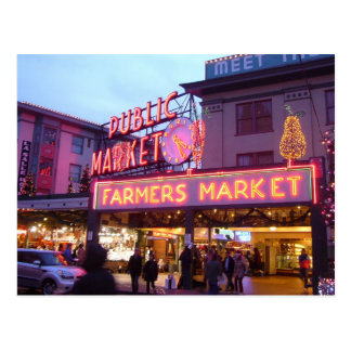Joyeux Noël de marché d'endroit de Seattle Pike Cartes Postales