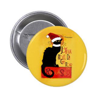 Joyeux Noël Du Chat Noir Badge Rond 5 Cm
