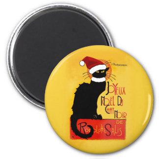Joyeux Noël Du Chat Noir Magnet Rond 8 Cm