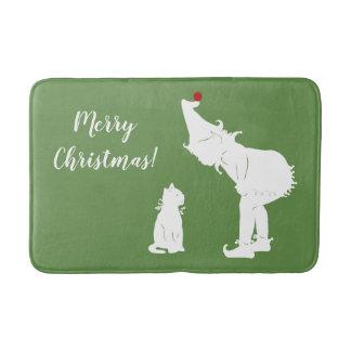 Joyeux Noël Elf et tapis de bain de chat