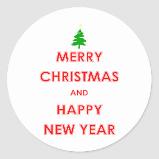 Joyeux Noël et bonne année Autocollant Rond