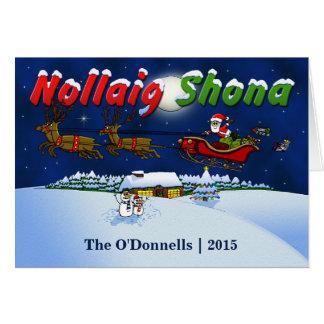 Joyeux Noël gaélique irlandais fait sur commande Cartes