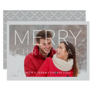 Joyeux Noël moderne recouvert avec la photo Carton D'invitation 12,7 Cm X 17,78 Cm